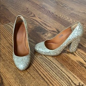 Madewell Size 8 Gold Glitter Heels Only worn once!